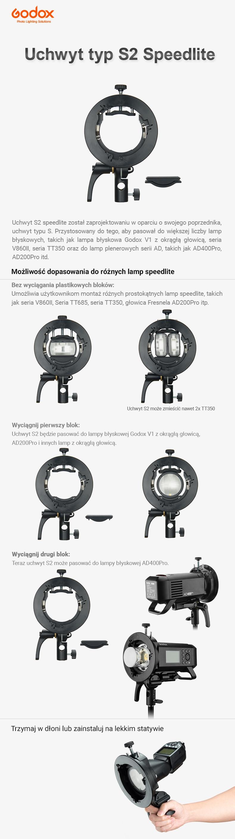 Godox uchwyt S2 Speedlite. Pasuje do AD200, lamp reporterskich, V1, AD300, AD400, TT350, V860II. Trzymaj w dłoni lub zainstaluj na statywie.