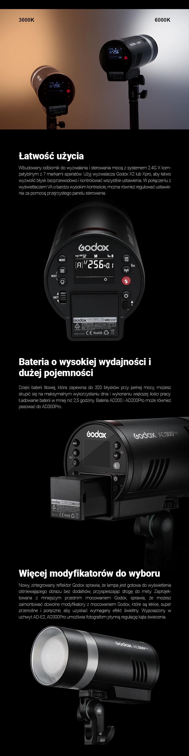 Godox AD300Pro. 3000K-6000K. Łatwość użycia. Bateria o wysokiej wydajności i dużej pojemności. Więcej modyfikatorów do wyboru.