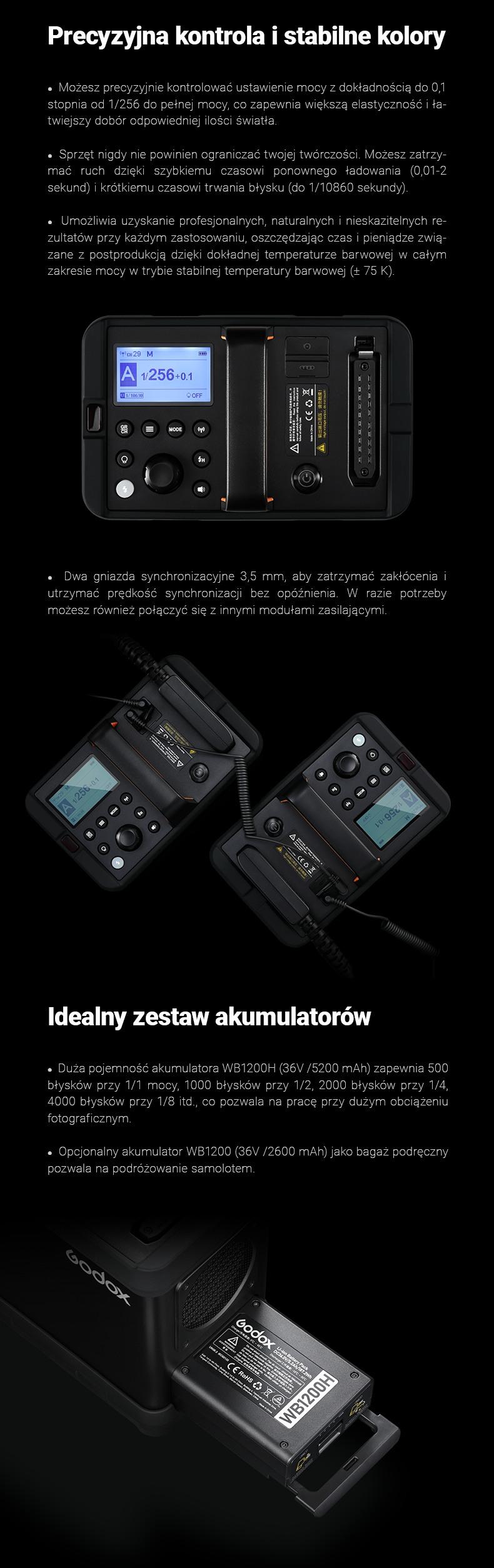 Godox AD1200Pro zestaw. Precyzyjna kontrola i stabilne kolory. Krótki czas trwania błysku (1/10860) i stabilna temperatura barwowa (+-75K). Idealny zestaw akumulatorów.
