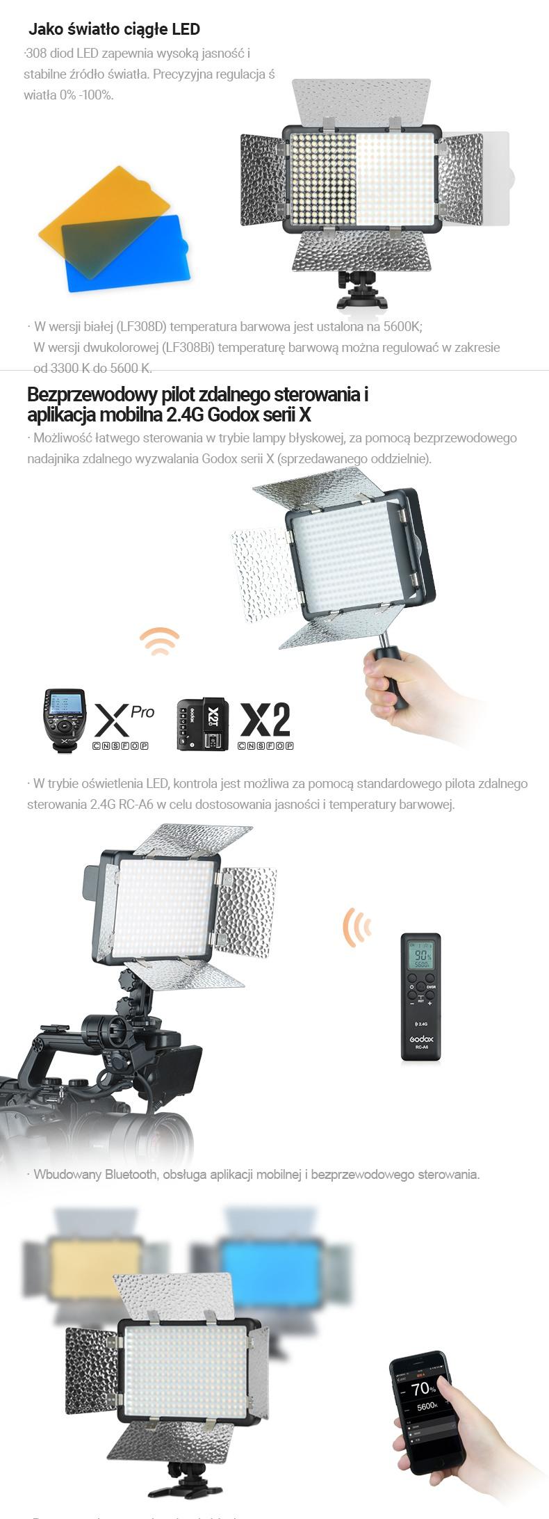 Godox LF308 Jako światło ciągłe LED. Bezprzewodowy pilot zdalnego sterowania i aplikacja mobilna. Godox X 2.4G