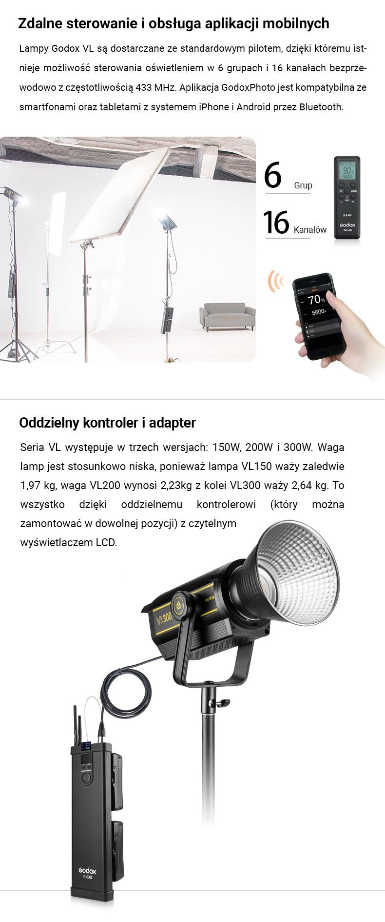 Godox seria VL LED Light Zdalne sterowanie i obsługa aplikacji mobilnych. Oddzielny kontroler i adapter.