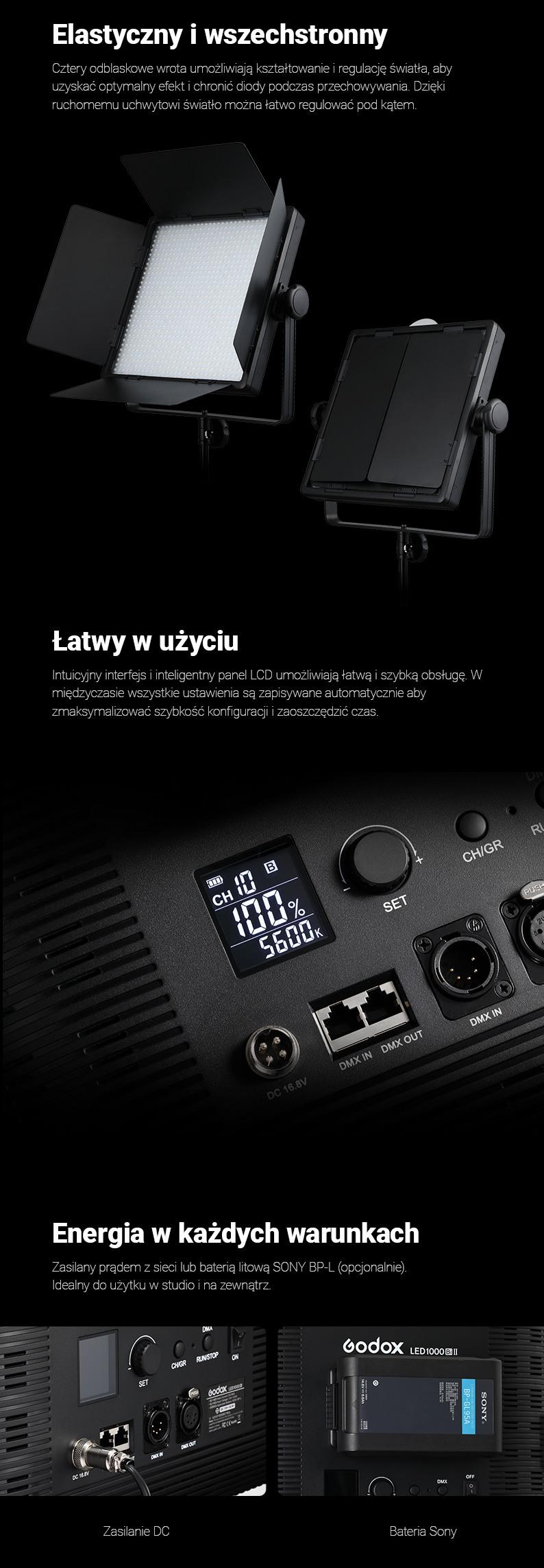 Godox LF308 Elastyczny i wszechstronny. Łatwy w użyciu. Energia w każdych warunkach.