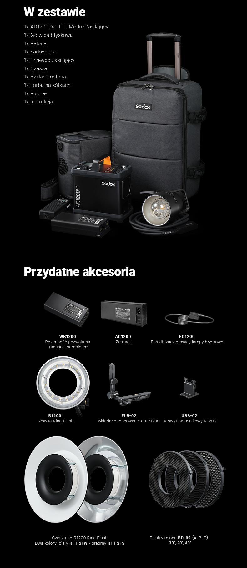 Godox 1200Pro Kit zestaw z power packiem. Co znajduje się w zestawie i przydatne akcesoria. Akumulatory\baterie W1200H, Ring flash, beauty dish.