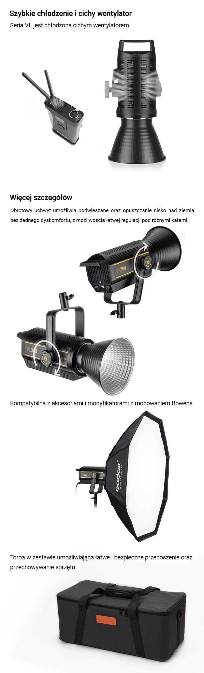 Godox VL150/200/300 Szybkie chłodzenie i cichy wentrylator. Więcej szczegółów: torba, akcesoria, montaż.
