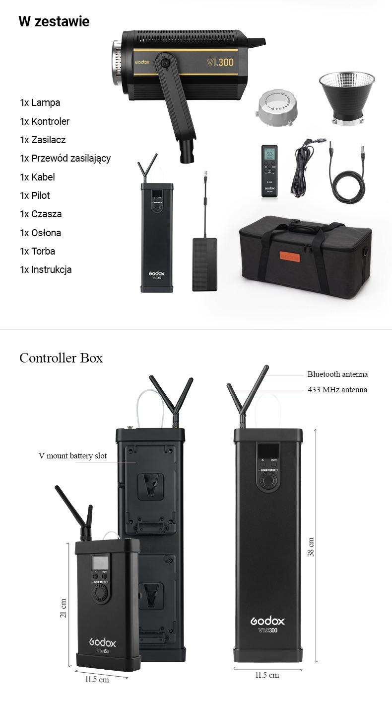 Godox seria VL w zestawie, controller box, mocowanie bowens
