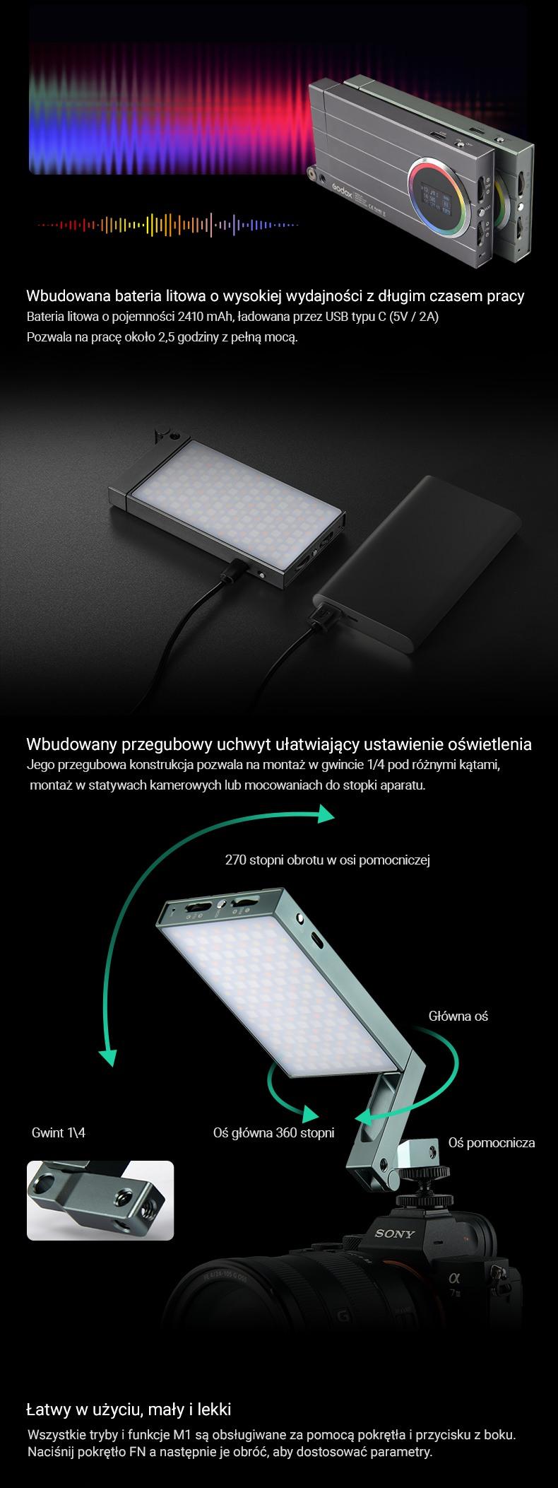 Godox M1 RGB bateria litowa o wysokiej wydajności z długim czasem pracy. Łatwy w użyciu, lekki i mały. Pozwala na pracę 2,5 godziny z pełną mocą. Wbudowany uchwyt przegubowy.