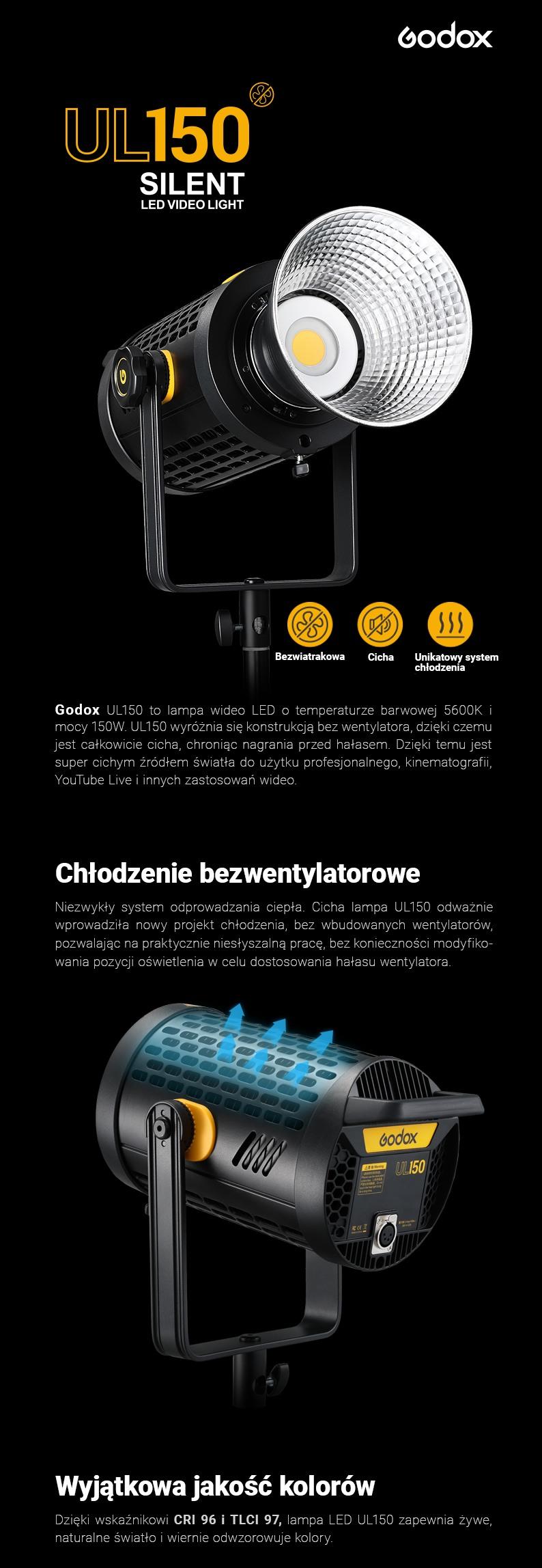 Godox UL150 Cicha lampa LED. Bezwiatrakowe chłodzenie i wyjątkowa jakość kolorów.