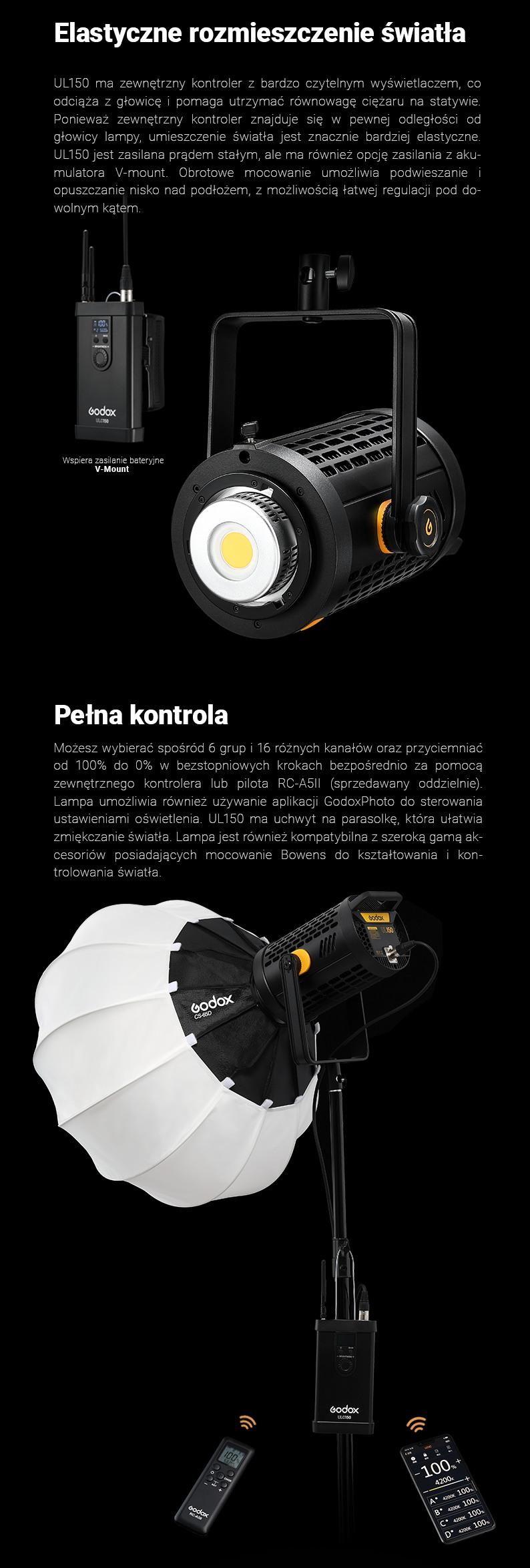 Godox UL-150 cicha lampa - elastyczne rozmieszczenei światła. Pełna kontrola nad lampą i światłem. Bezprzewodowy system wyzwalania błysku.