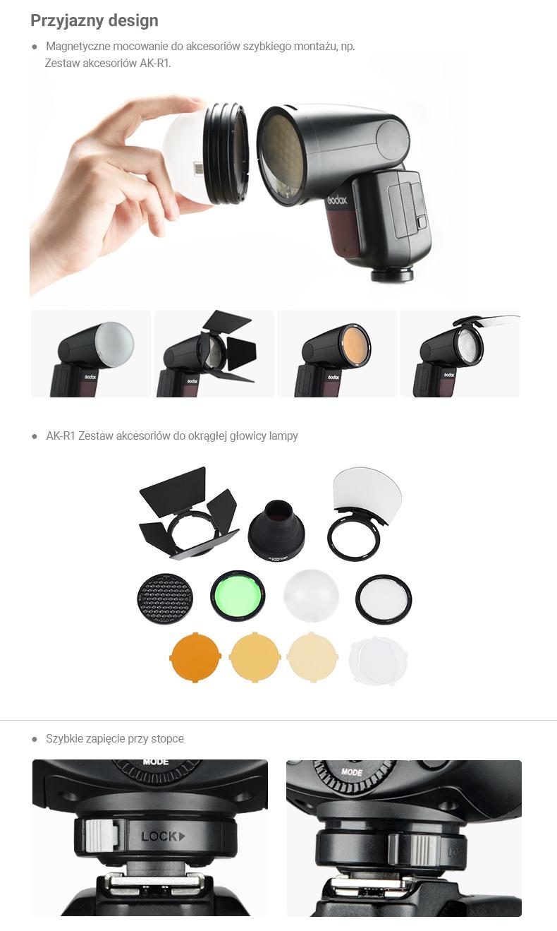 Godox V1 lampa. Przyjazny design. Magnetyczne mocowanie do akcesoriów. AK-R1. Szybkie zapięcie przy stopce.
