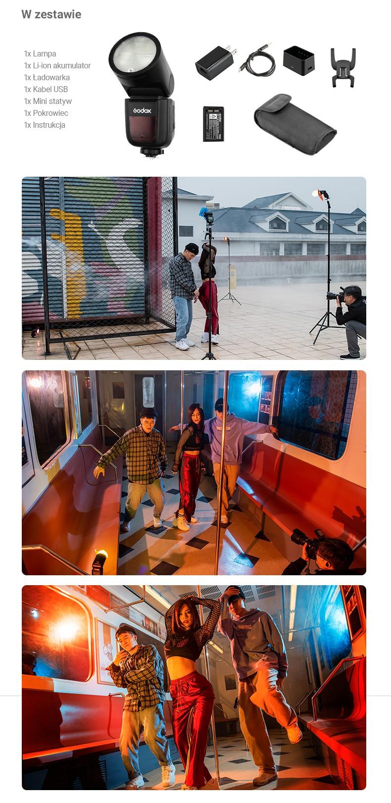 Godox V1 w zestawie, zdjęcia wykonane przy użyciu V1, backstage.