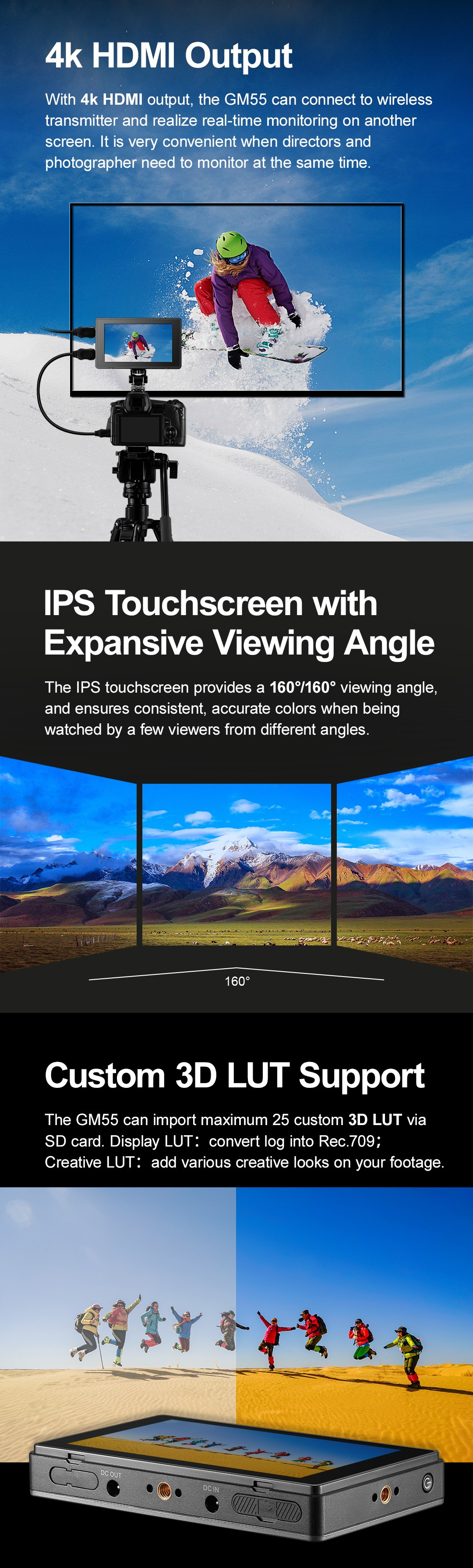 4K HDMI Output IPS Touchscreen with Expansive Viewing Angle Custom 3D LUT support