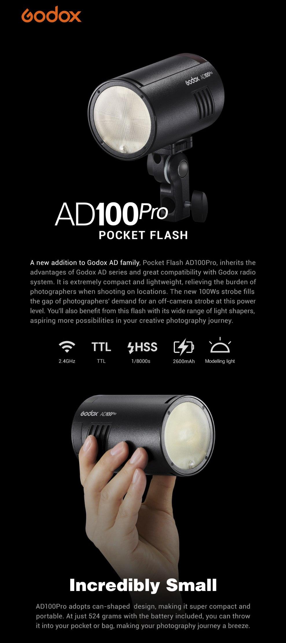 Godox AD100Pro Pocket Flash Incredibly Small