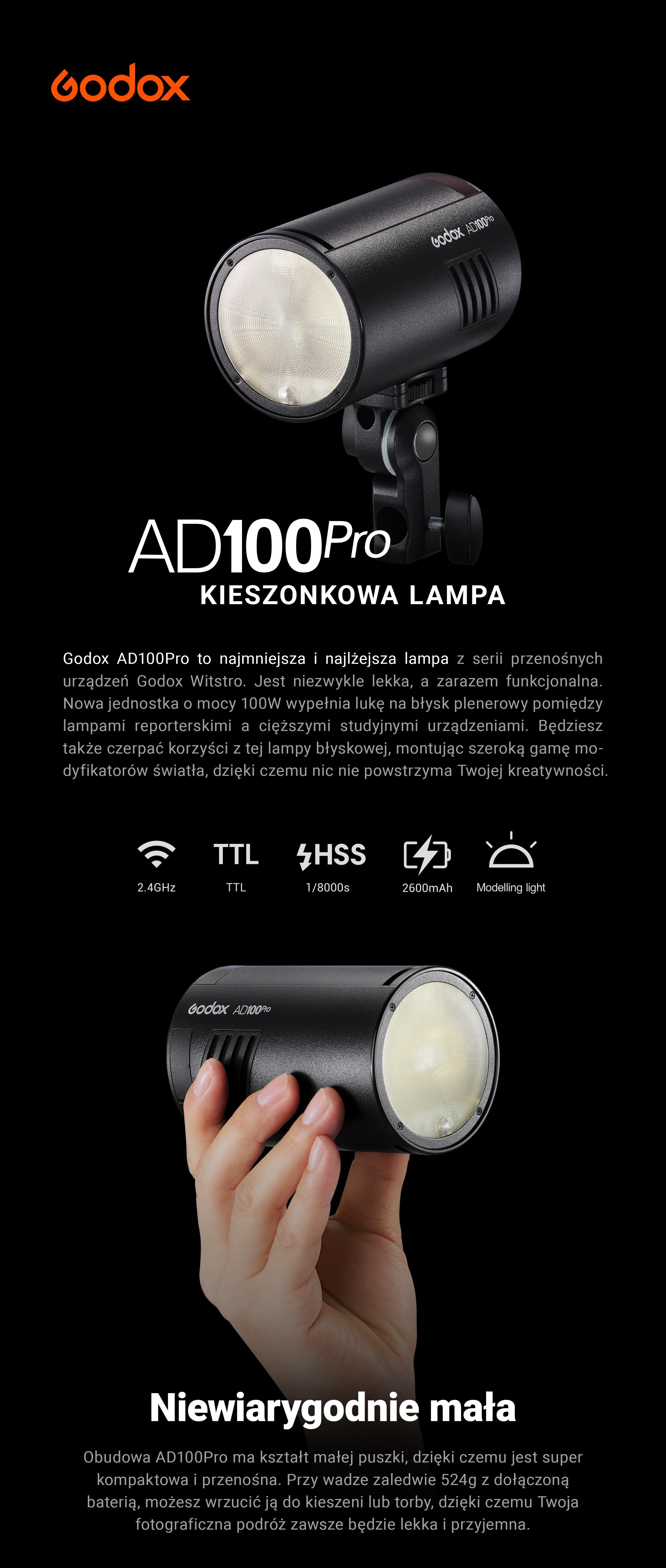 Godox AD100Pro kieszonkowa lampa. Niewiarygodnie mała i lekka.