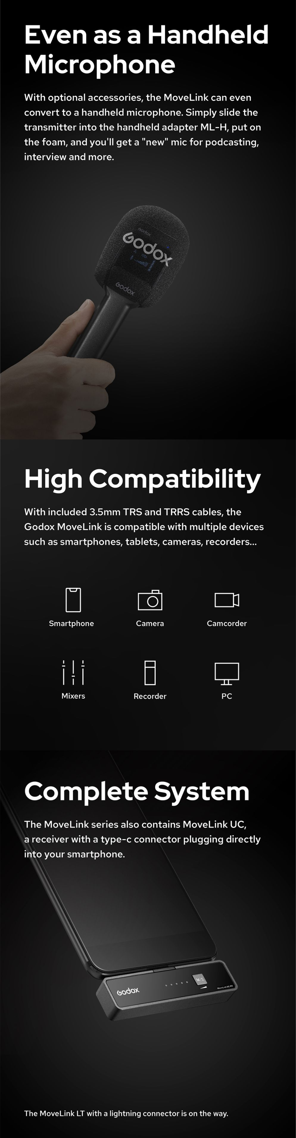 Even as a Handheld Microphone High Compatibility Complete System