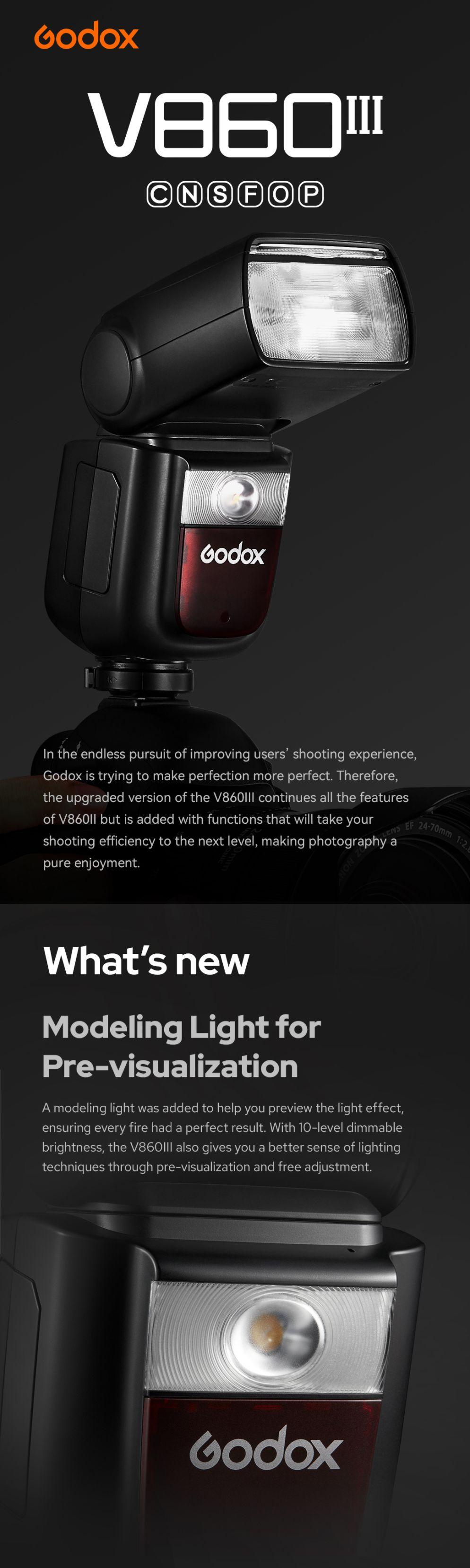 Godox V860III Canon Nikon Sony Fuji Olympus Pentax Modeling Light