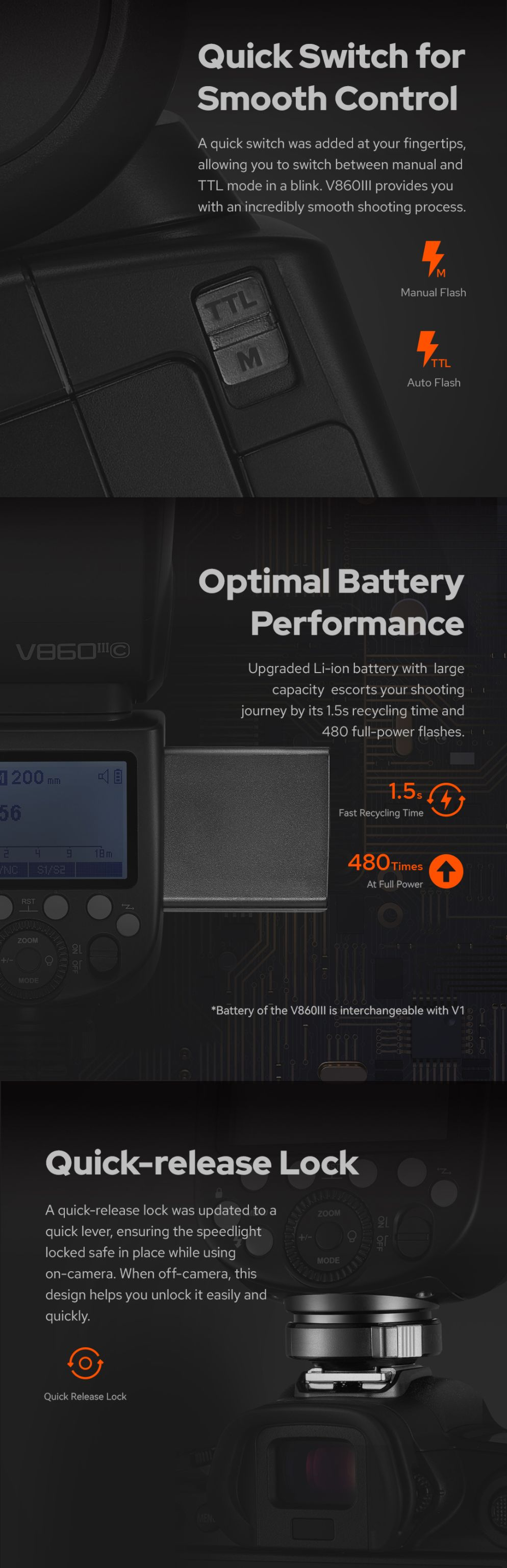 V860 III Quich Switch Smooth Control Optimal Battery Performance Quick-relase Lock