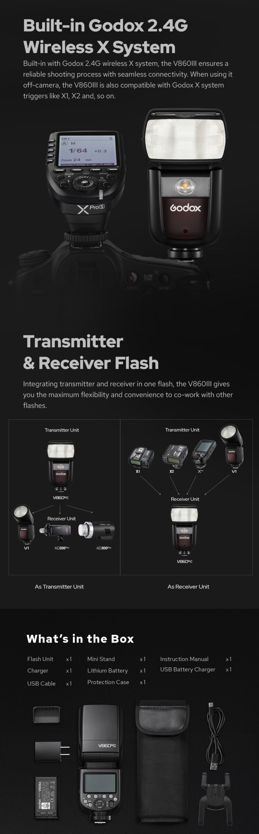 Built-In Godox 2.4G Wireless X System Transmitter & Receiver Flash What`s in the box